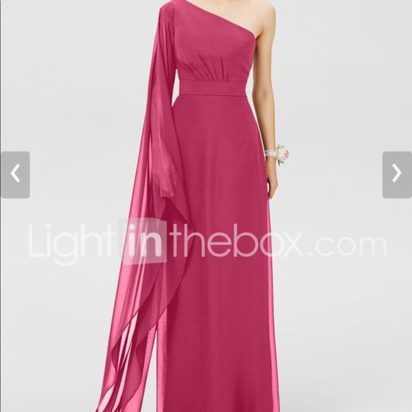 One Shoulder Floor Length Dress